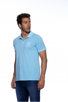 Polo Casual Azul Sky Bordada