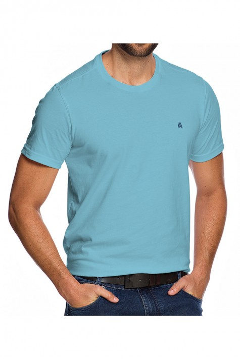 Camiseta Casual Azul Sky Básica Fundamental